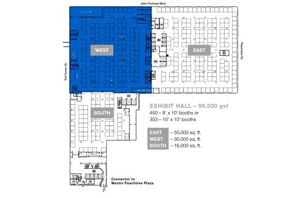 Americasmart Atlanta Building 1 Floor 2 Offers A Fully Carpeted 96 000 Square Foot Exhibit Hall Divisible Into 3 Sections The Is Directly